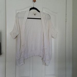 Short sleeve knit cropped cardigan